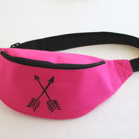 Arrow Fanny Pack/Tribal Fanny Pack/Hot Pink Fanny Pack/ Hip Bag/ Festival Bag/Bum Bag.