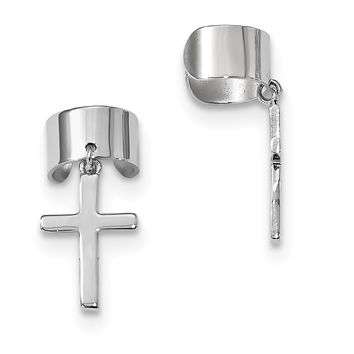 Sterling Silver Rhodium-plated Cuff Cross Earrings QE13689