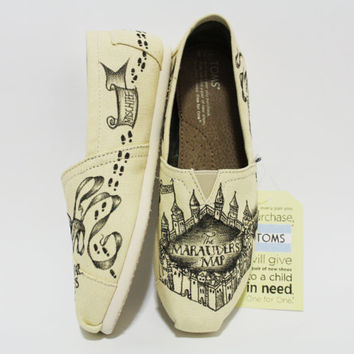 Authentic Toms Marauder's Map Natural Color Harry Potter Shoes
