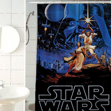 Retro Star Wars shower curtain by jedingwatukali