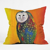 Clara Nilles Glowing Owl On Sunset Throw Pillow