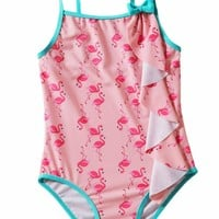 Toddler Girls Flamingo Print One-piece Swimwear