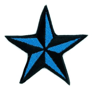 Blue Nautical Star Patch Iron on Applique Alternative Clothing Tattoo Rockabilly