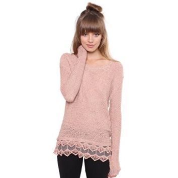 Junior's Pink Knit Bottom Lace Sweater TA8612