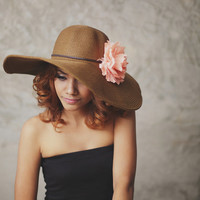 Meadow Breeze - Floppy Sun Hat with Pale Peach Carnation,Over size hat, Brown Wide Brimmed Braided Reed Summer Floppy Hat