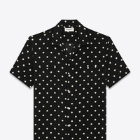 SAINT LAURENT CLASSIC HAWAIIAN SHIRT IN BLACK AND WHITE POLKA DOT PRINTED VISCOSE | YSL.COM