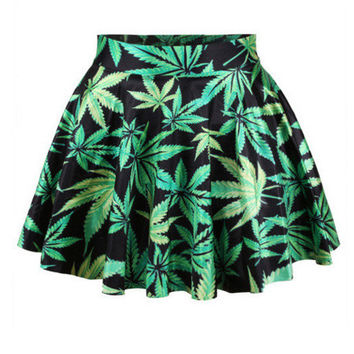 Black 3D Green Maple Leaf Print Mini Skater Skirt