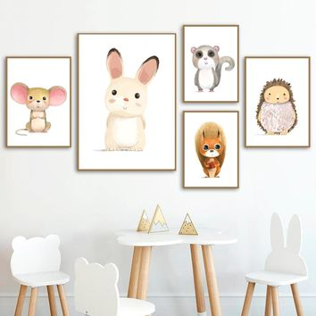 Watercolor Cartoon Rabbit Mouse Squirrel Hedgehog Wall Art Canvas Painting Nordic Posters And Prints Wall Pictures Kids Room
