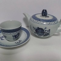Royal Copenhagen Tranquebar Blue Coupe Tea Pot with Demitasse Cup Saucer