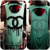 Teal Dripping Chanel Tank