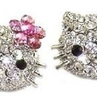 "Large 3/4"" Silver Tone Kitty Stud Earrings with Dazzling Swarovski Crystals and Pink Flower Bow"
