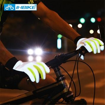 INBIKE Reflective Cycling Gloves Full Finger Bike Gloves Touch Screen Fingertip Anti-slip Gel Palm Men Women Cycling Accessories
