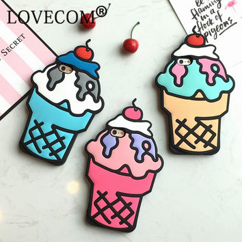 New Hot Cartoon Ice Cream Soft Silicon Phone Back Cover Phone Case For iPhone 5 5S SE 6 6S 6Plus 6SPlus