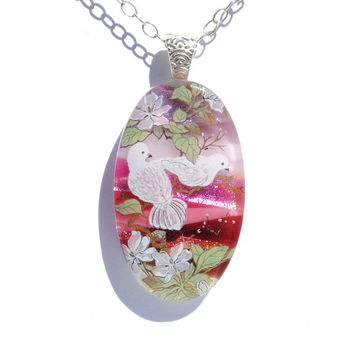 White Doves - LARGE Dichroic Fused Glass Pendant, Fused Glass Jewelry, Oval, Nature, Outdoors, Bird, Cherry Blossom, Pastels (Item 10687-P)