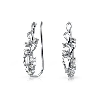 AAA CZ Swirl Wire Ear Pin Climbers Crawlers Earrings For Women For