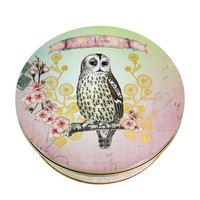 "Papaya Art Vintage Bird & Flower Art "" Mom"" Round Tin Keepsake Storage Container (Dream Owl Art)"