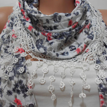 Blue Coral Gray Floral White Scarf Shawl, Women Cowl Scarf with Lace Edge, Gift For Her For Mom, ScarfClub
