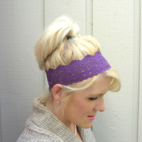 Amethyst wide stretch lace headband feminine/romantic/classic