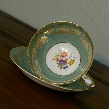 Antique Paragon teal and gold teacup and saucer, English tea cup with floral design, flower tea cup, English tea set