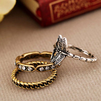 3Pcs Set Sweet Antique lovely dragon fly rings vintage Fashion cute Ring SIZE 7
