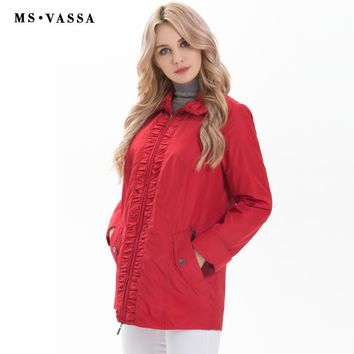 Women Spring Happy Size Jacket Solid Color Plus Size Turn-down Collar Outerwear