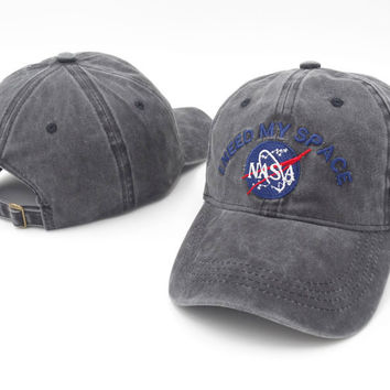 nasa space cadet denim baseball cap