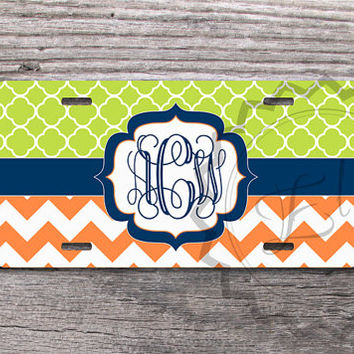 Personalized License Plate - Lime Green quatrefoil pattern, Orange chevron and Navy blue monogram, customized front license plate - 318