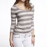 JACQUARD STRIPE SCOOP NECK TEE