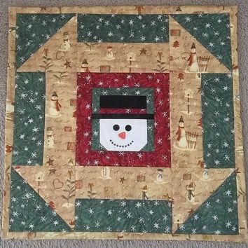 Smiling Snowman Table Topper - Wall Hanging