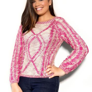 Chic Magenta Ivory Long Sleeved Sweater
