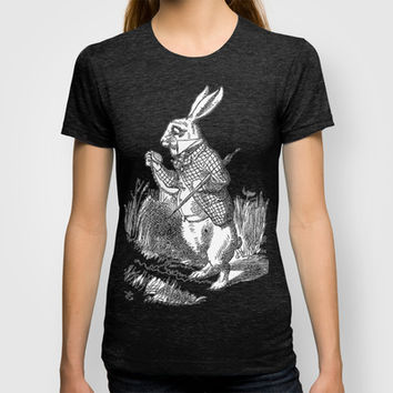 Vintage Alice in Wonderland the White Rabbit emo goth antique book drawing sketch art print T-shirt by iGallery