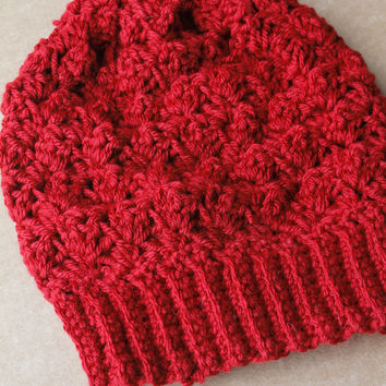 Crochet Slouchy Hat, Crochet Slouchy Beanie, Crochet Beanie in Red Wine, The Bailey Slouchy Beanie, Soft Acrylic