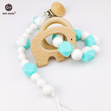 Let's Make Pacifier Clip and Bracelets Set (2pcs/1lot) Baby Rattle Teether Beech Animals DIY Dummy Clip Baby Shower Gift Charms