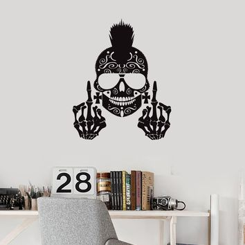 Vinyl Wall Decal Skull Punk Skeleton Middle Finger Decor Art Stickers Mural (ig5648)