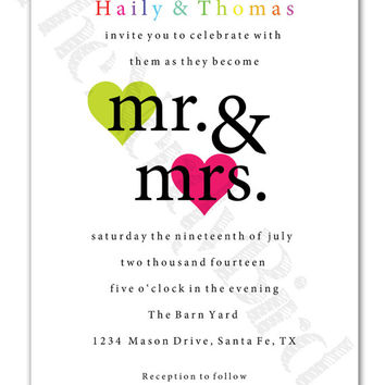 Modern Mr. and Mrs. with Hearts Design Printable Wedding Invitation and Matching RSVP Card