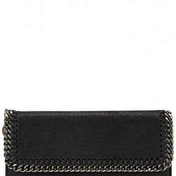 Stella McCartney Falabella black faux suede wallet