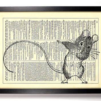 Mouse Dance Repurposed Book Upcycled Dictionary Art Vintage Book Print Recycled Vintage Dictionary Page Buy 2 Get 1 FREE