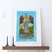 Tarot Print Temperance Retro Illustration Art Rider Print Vintage Giclee on Cotton Canvas or Paper Canvas Poster Wall Decor