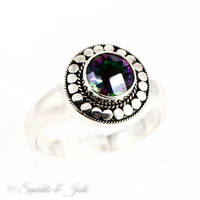 Sterling Silver Natural Mystic Topaz Bali Style Halo Ring