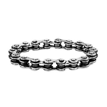 925 Sterling Silver Heavy Bike Chain Men's Biker Bracelet - 8.5""