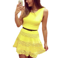 Yellow Sleeveless with Crochet Lace Accent Mini Dress
