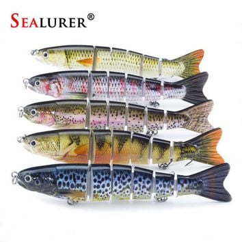 "SEALURER 1PCS 5.1"" 13cm Multi 6 Jointed Saltwater Fishing Lures Bait Fly Fishing Minnow Trout Swimbait High Quality New"