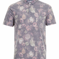 BLACK FLORAL POLO SHIRT - TOPMAN USA