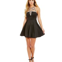 B. Darlin Embellished Cage Top Fit-and-Flare Dress | Dillards