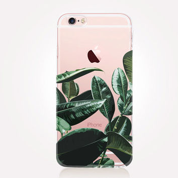 Transparent Exotic Leaves Phone Case - Transparent Case - Clear Case - Transparent iPhone 7 - Transparent iPhone 6 - Transparent iPhone 4