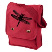 Dragonfly Messenger Bag Red Canvas Messenger Field Bag Laptop Bag