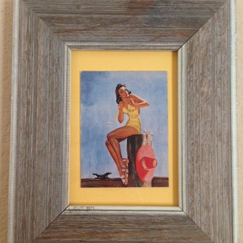 Pin-Up on the Dock Framed Pin-Up Girl Antique