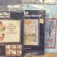 Sew Simple Inc Crewel Kit Winter Landscape, Bucilla Needlecraft Patience to Endure, Bucilla Counted Cross Stitch Kit Acts of Kindness