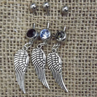 silver wing belly button ring, country jewelry, wedding gift, wing navel ring, silver wing jewelry, angel wing jewelry, gifts for girls