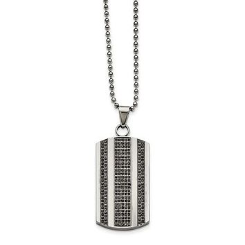Stainless Steel One Carat Black Diamond Dog Tag Necklace